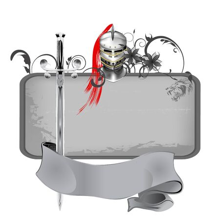 vector illustration grunge frame with swords and knights helmet Illustration