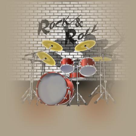 drummer: vector illustration drum kit drummer and shadow