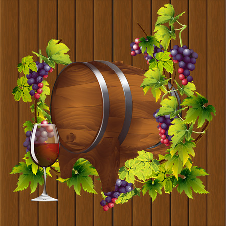 stopper: vector Illustration barrel of wine on the background of the vine