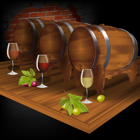 cellar: vector Illustration wine cellar with wine from the barrel Illustration