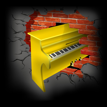 breaks:  illustration yellow piano breaks brick wall Illustration