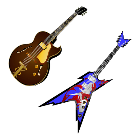 stringed: vector illustration of a stringed musical instrument electric guitar