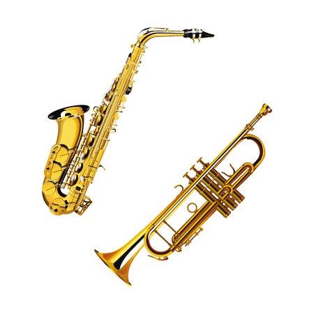 saxofón: ilustración vectorial de un latón instrumento musical del saxofón y la trompeta