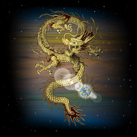 vector illustration Chinese dragon with the planet in its claws