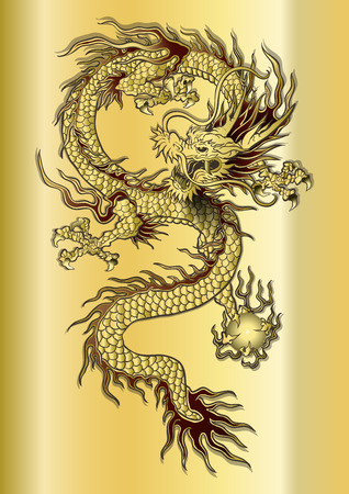 asian art: vector illustration Chinese dragon on a gold background