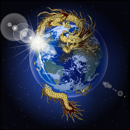 vector illustration chinese dragon holding planet earth
