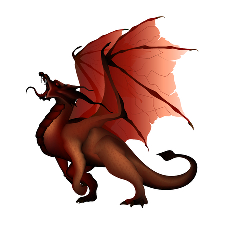 legends folklore: vector illustration of a red dragon separate element