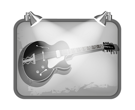 hardrock: vector illustration frame with lighting and guitar Illustration