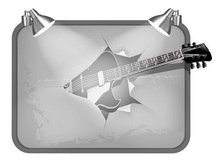 breaks: ilustraci�n vectorial guitarra rompe cartel y retroiluminada