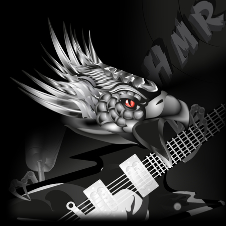 swooping: vector illustration iron eagle with a guitar in its claws