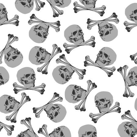 vector illustration Seamless pattern Jolly Roger skull and crossbones Vector