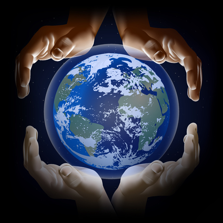 unification: vector illustration hands of different people and the planet earth Illustration