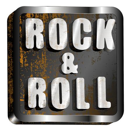 cliche: vector illustration rock and roll metal inscription Illustration
