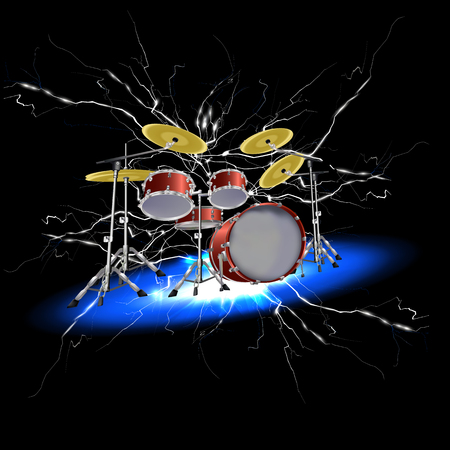 vector illustration of a drum set with lightning strikes