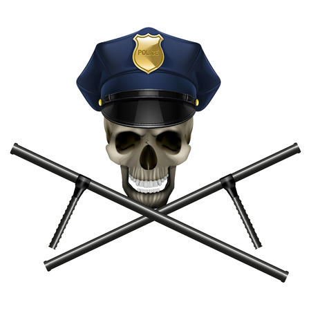 vector illustration of a skull in a police cap
