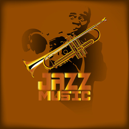 vector illustration of music with jazz trumpet and trumpet player