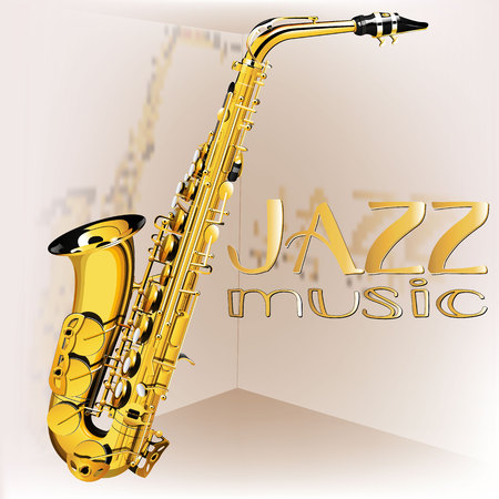 vector illustration with saxophone jazz music and reflection Vectores