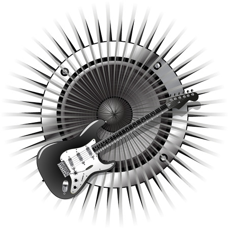 vector illustration background with electric guitar and speaker Vector