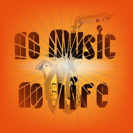 vector illustration no music no life and broken saxophone