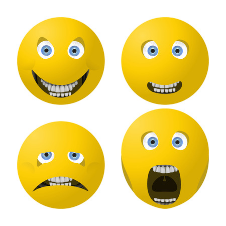 disappoint: vector illustration smile, frown, surprised and angry face