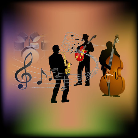 playbill: musical background with a saxophone, guitar and contrabass