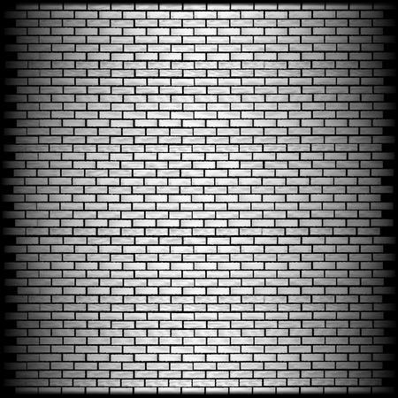 brick texture: vector illustration monochrome brick wall with shadow on the edge