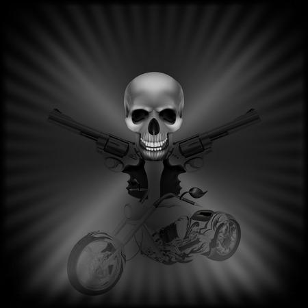 stock vector - background biker skull and revolvers Vector
