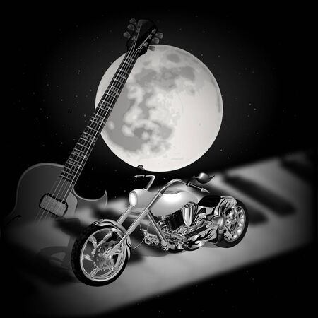 bard: Stock vector - musical background with the moon, guitar and motorcycle on a piano Illustration