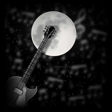 bard: vector illustration-Guitar the background of the moon