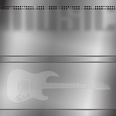 hardrock: Stock vector - musical background with a guitar and an empty engraved frame blurred
