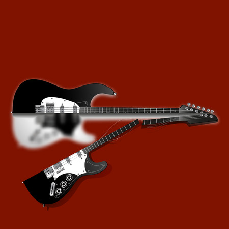 Stock vector cut electric guitar on a red background with