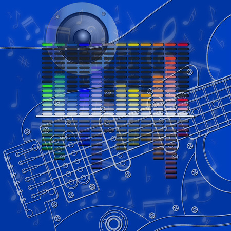 vibrations: vector illustration-musical design, equalizer and guitar strings