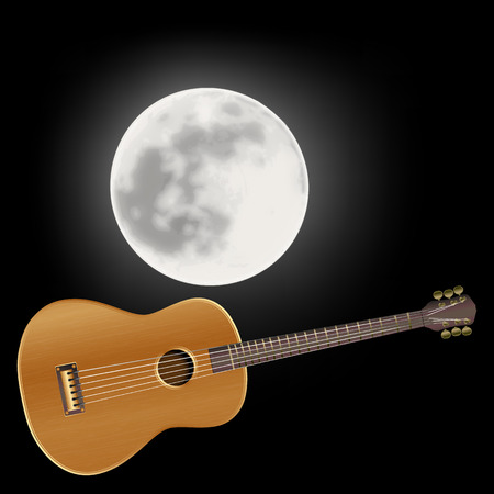 acoustic guitar in the background of the moon Vector