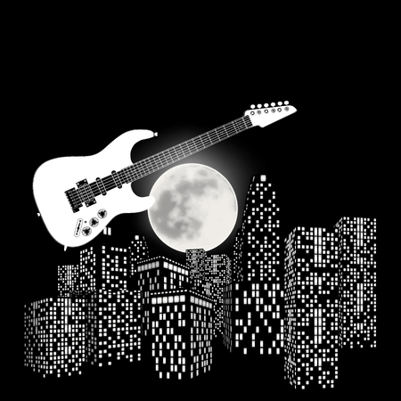 bard: illustration electric guitar on a background the moon and city