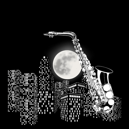 illustration saxophone on a background of the moon and city Vectores