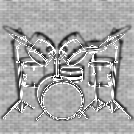 snare drum: vector illustration drum set against the backdrop of a brick wall