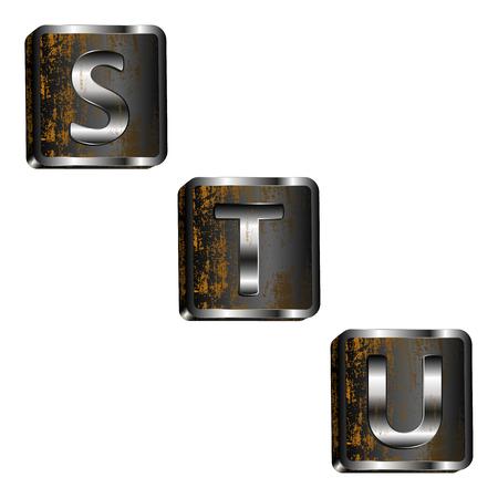 u s: vector illustration s t u iron letters