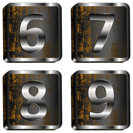 8 9: vector illustration 6 7 8 9 iron digit