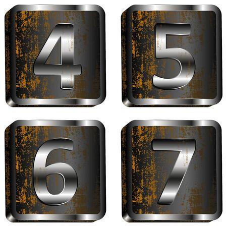 6 7: vector illustration 4 5 6 7 iron digit