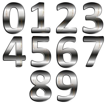 0 9: vector illustration iron digit 0 - 9