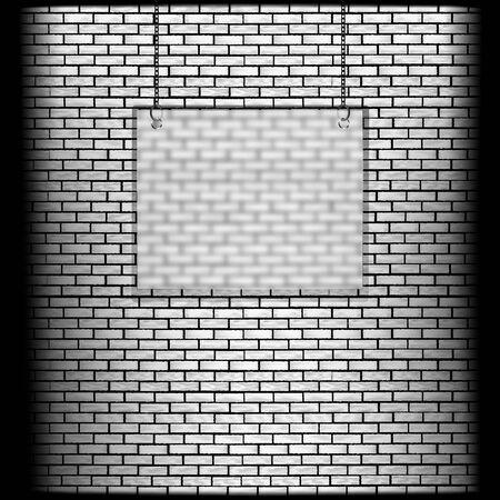 glass brick: vector illustration brick wall with glass frame Illustration