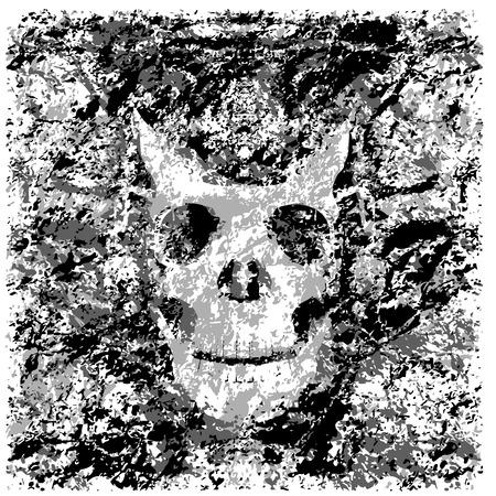 Illustration vectorielle silhouette du crâne grunge texture monochrome Banque d'images - 40511168