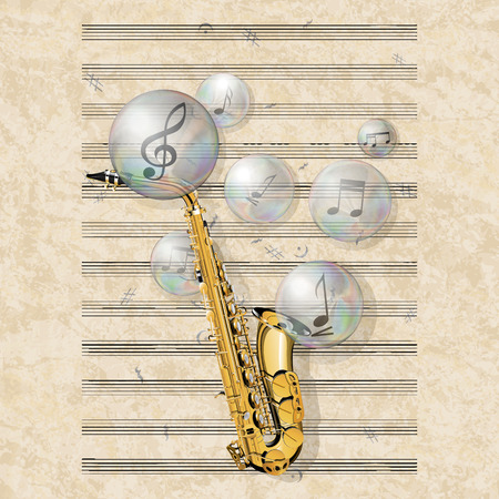 vector illustration musical background with music sheet, saxophone and soap bubbles