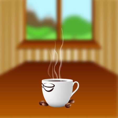 coffee table: vector illustration of a coffee table with a cup of coffee on the background of a window and landscape with mountains and tree