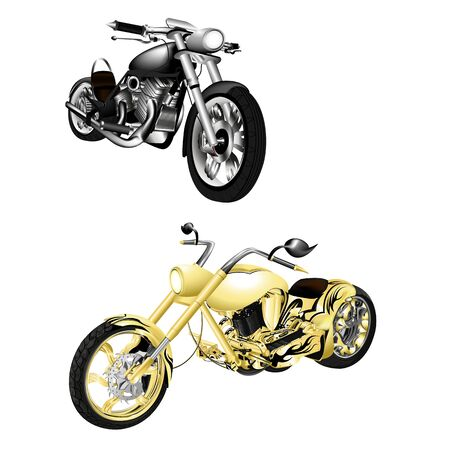 roadster: vector illustration motorbike, chopper gold and monochrome isolated objects