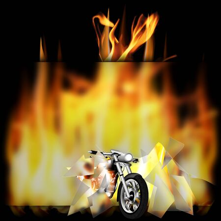 spurt: vector illustration motorbike, chopper, smashes a glass frame and pulled out of the fire