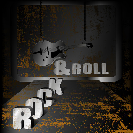 electric iron: vector illustration Iron background rock-n-roll with rust and an electric guitar with chains