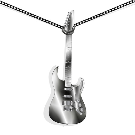 hung: Vector illustration of a classic electric guitar metal hung on chains for the neck,  isolated element Illustration