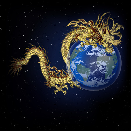 vector illustration golden Chinese dragon in space encircles the planet earth, on the background of stars