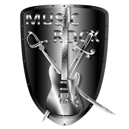 armament: vector illustration iron electric guitar with a saber and a sword in the background metal shield and the words music rock